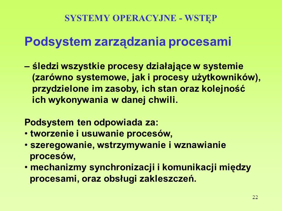 22 SYSTEMY OPERACYJNE - WSTĘP Podsystem zarządzania procesami – śledzi wszystkie procesy działające w systemie (zarówno systemowe, jak i procesy użytk