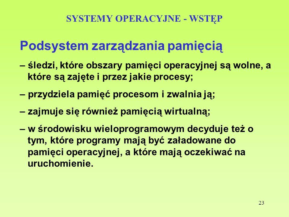 23 SYSTEMY OPERACYJNE - WSTĘP Podsystem zarządzania pamięcią – śledzi, które obszary pamięci operacyjnej są wolne, a które są zajęte i przez jakie pro