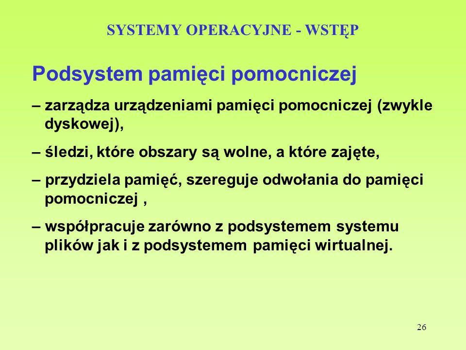 26 SYSTEMY OPERACYJNE - WSTĘP Podsystem pamięci pomocniczej – zarządza urządzeniami pamięci pomocniczej (zwykle dyskowej), – śledzi, które obszary są