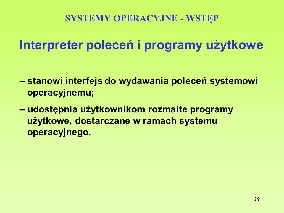 29 SYSTEMY OPERACYJNE - WSTĘP Interpreter poleceń i programy użytkowe – stanowi interfejs do wydawania poleceń systemowi operacyjnemu; – udostępnia uż