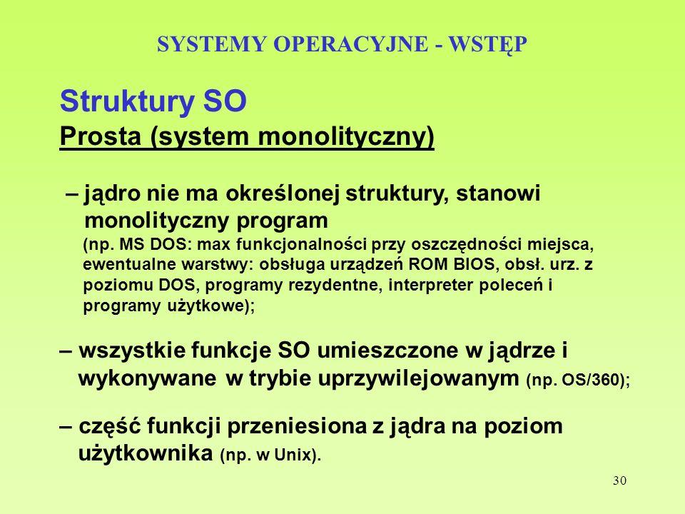 30 SYSTEMY OPERACYJNE - WSTĘP Struktury SO Prosta (system monolityczny) – jądro nie ma określonej struktury, stanowi monolityczny program (np. MS DOS: