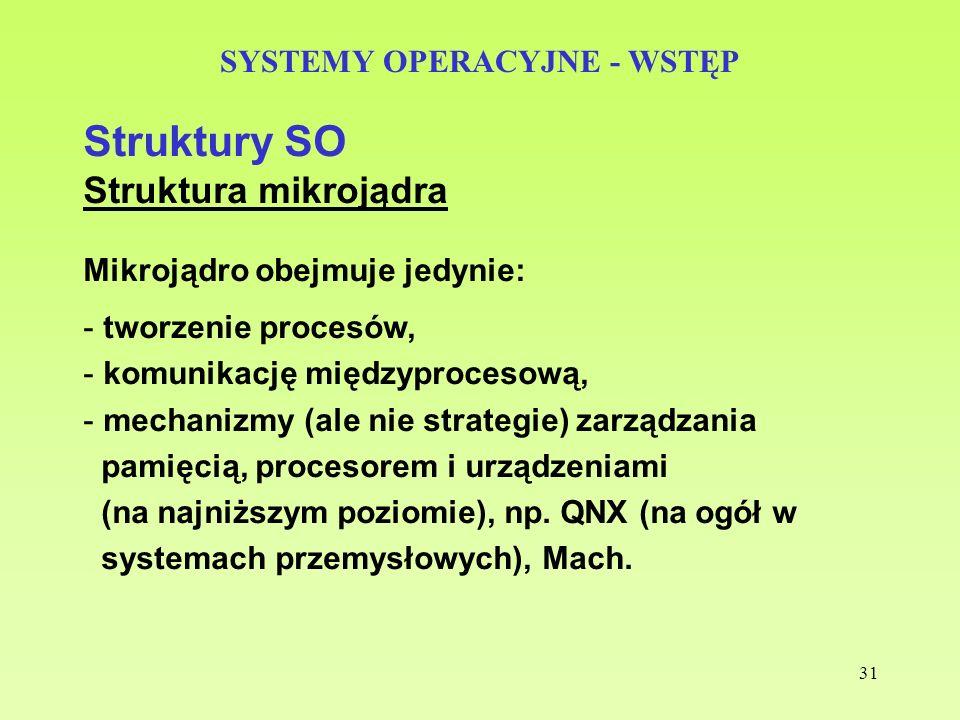 31 SYSTEMY OPERACYJNE - WSTĘP Struktury SO Struktura mikrojądra Mikrojądro obejmuje jedynie: - tworzenie procesów, - komunikację międzyprocesową, - me