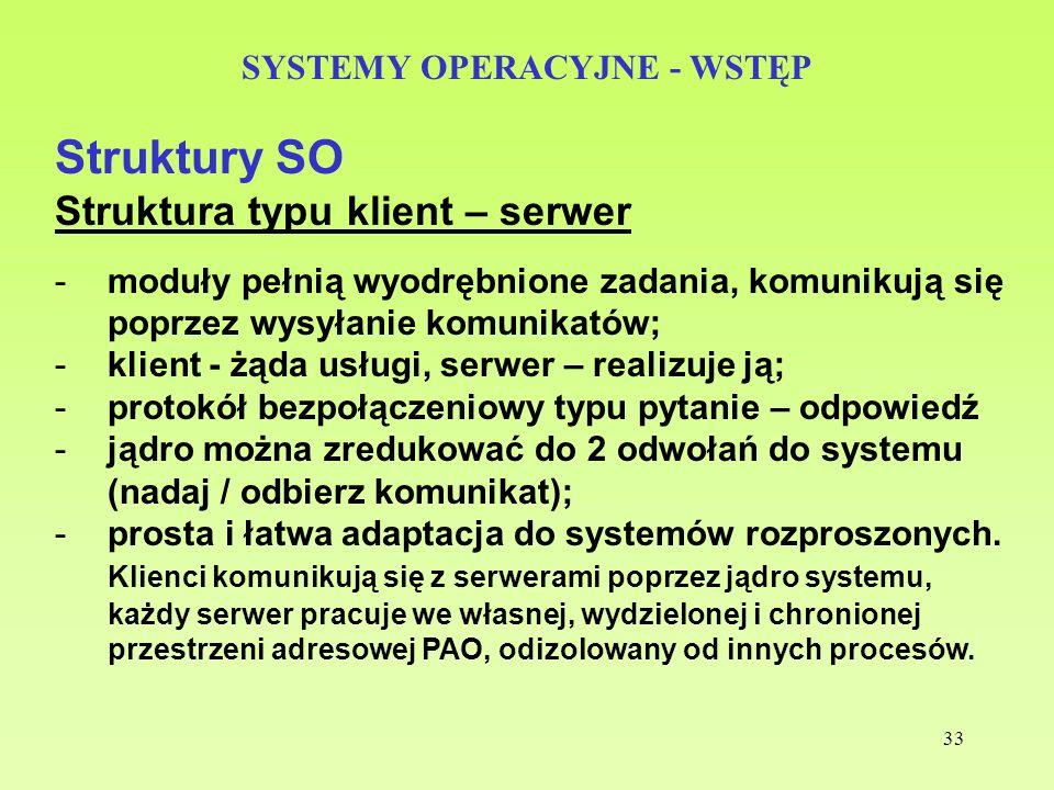 33 SYSTEMY OPERACYJNE - WSTĘP Struktury SO Struktura typu klient – serwer -moduły pełnią wyodrębnione zadania, komunikują się poprzez wysyłanie komuni