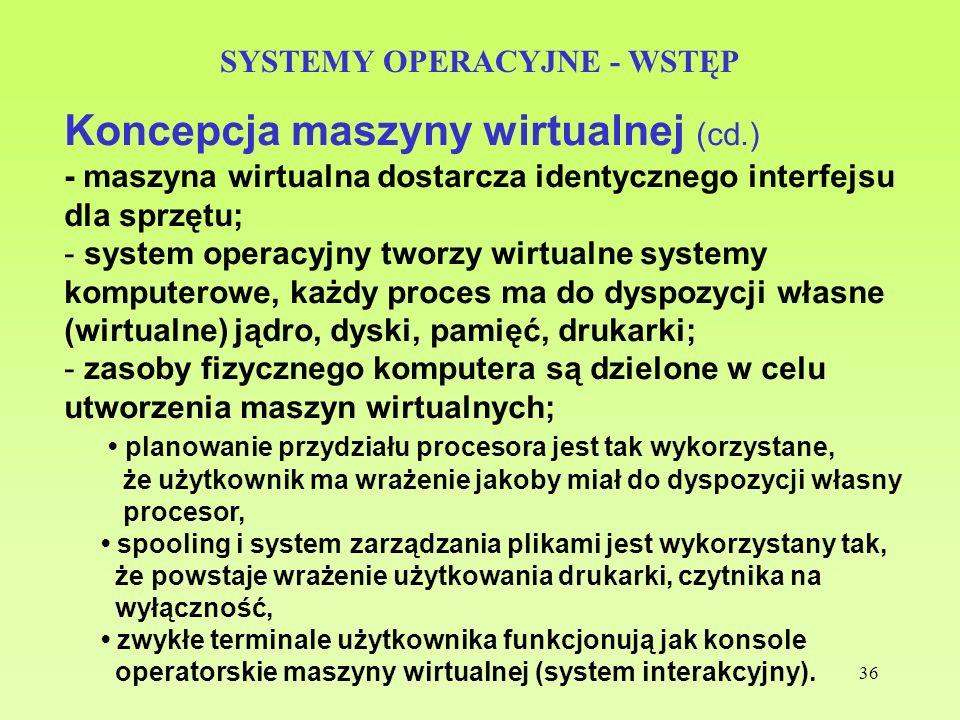 36 SYSTEMY OPERACYJNE - WSTĘP Koncepcja maszyny wirtualnej (cd.) - maszyna wirtualna dostarcza identycznego interfejsu dla sprzętu; - system operacyjn