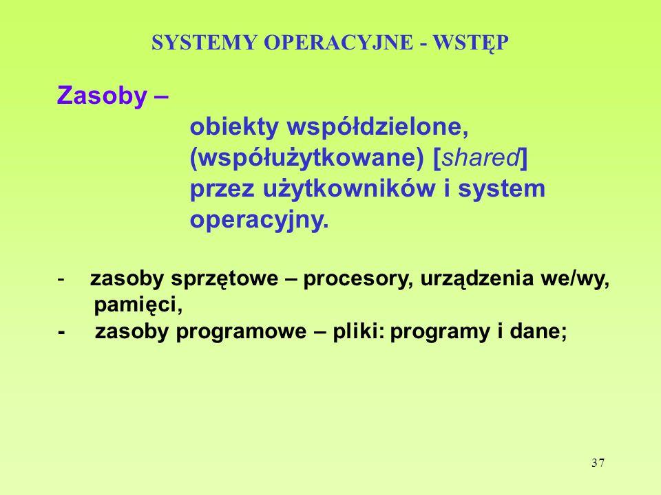37 SYSTEMY OPERACYJNE - WSTĘP Zasoby – obiekty współdzielone, (współużytkowane) [shared] przez użytkowników i system operacyjny. -zasoby sprzętowe – p