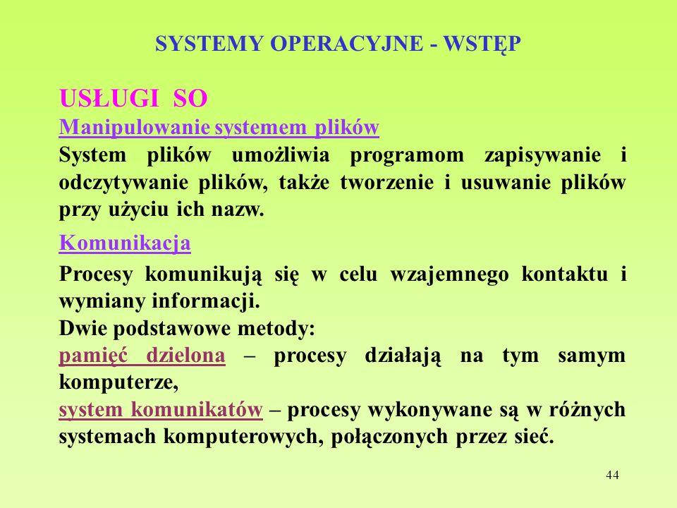 44 SYSTEMY OPERACYJNE - WSTĘP USŁUGI SO Manipulowanie systemem plików System plików umożliwia programom zapisywanie i odczytywanie plików, także tworz