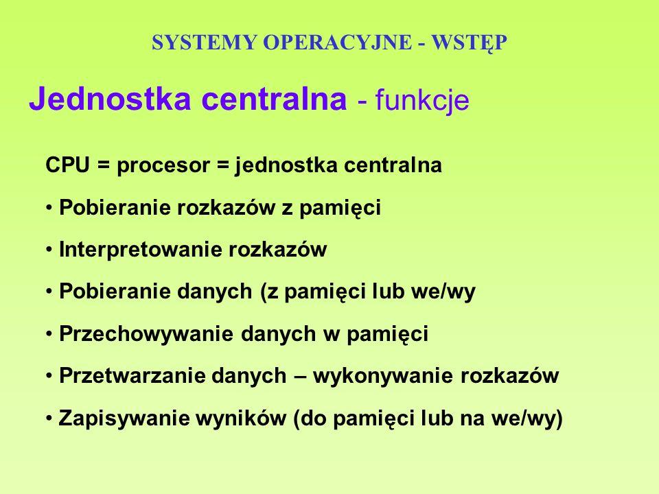 SYSTEMY OPERACYJNE - WSTĘP - licznik programu (PC) - adres rozkazu do pobrania - rejestr rozkazu (IR) - kod rozkazu - rejestr adresowy pamięci (MAR) - adres lokacji - rejestr buforowy pamięci (MBR) - dane do/z pamięci - rejestry PSW (program status word) - słowo stanu programu, informacje o stanie Rejestry procesora