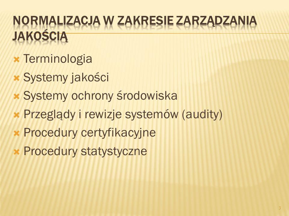Terminologia Systemy jakości Systemy ochrony środowiska Przeglądy i rewizje systemów (audity) Procedury certyfikacyjne Procedury statystyczne 3