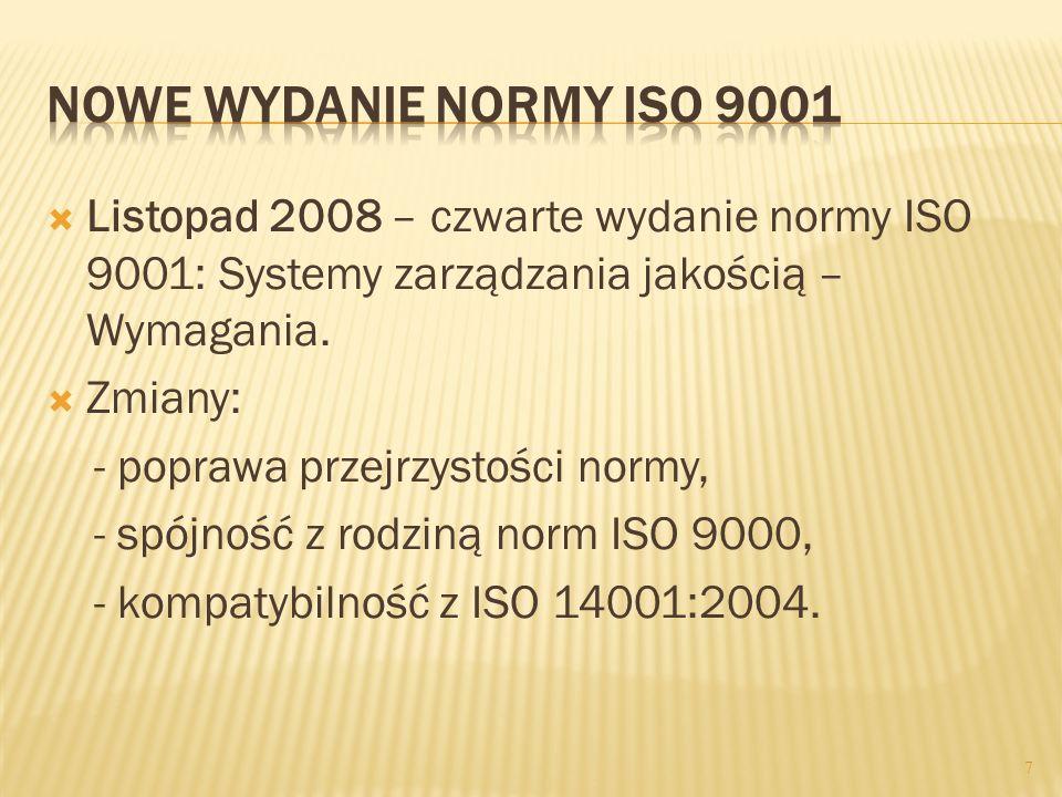 Listopad 2008 – czwarte wydanie normy ISO 9001: Systemy zarządzania jakością – Wymagania. Zmiany: - poprawa przejrzystości normy, - spójność z rodziną