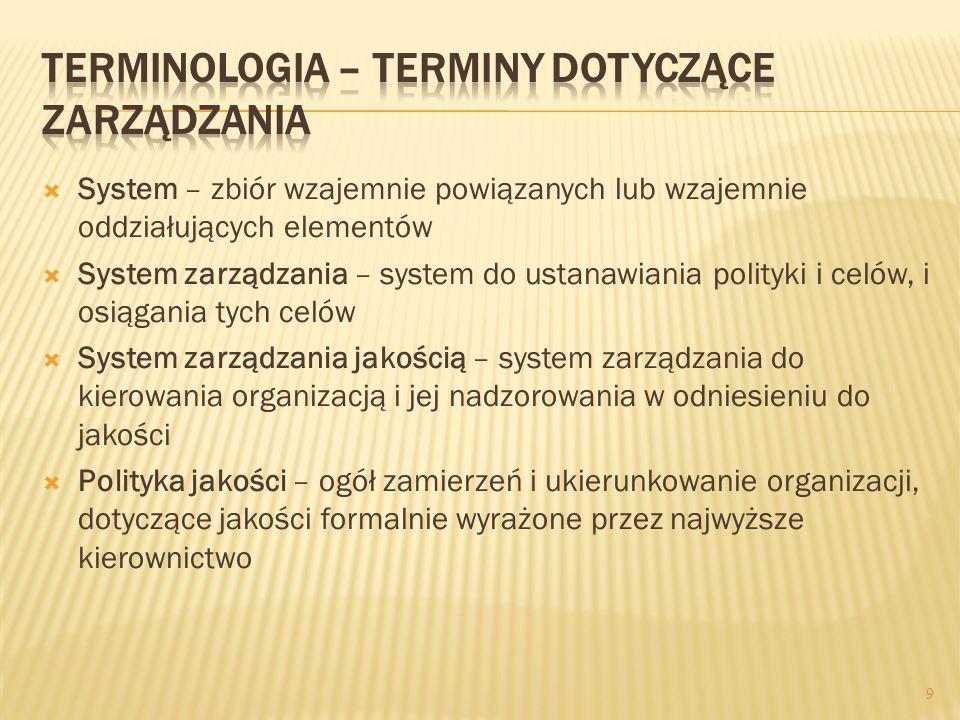 System – zbiór wzajemnie powiązanych lub wzajemnie oddziałujących elementów System zarządzania – system do ustanawiania polityki i celów, i osiągania