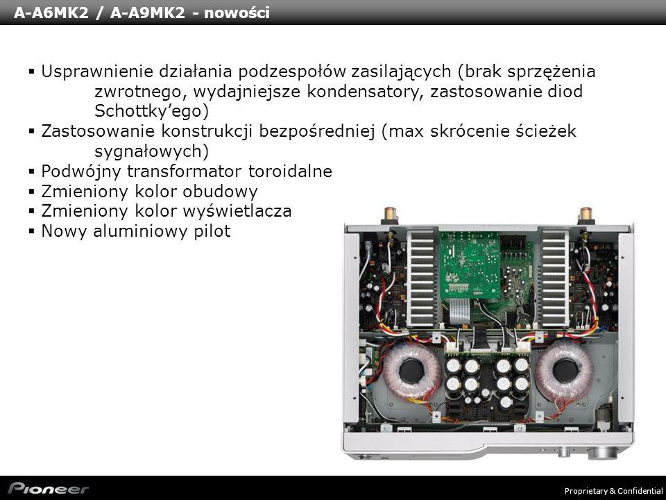 Proprietary & Confidential A-A6MK2 / A-A9MK2 - nowości Usprawnienie działania podzespołów zasilających (brak sprzężenia zwrotnego, wydajniejsze konden