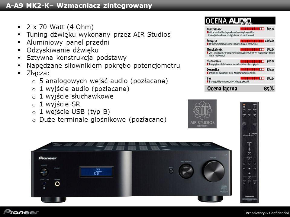 Proprietary & Confidential A-A9 MK2-K– Wzmacniacz zintegrowany 2 x 70 Watt (4 Ohm) Tuning dźwięku wykonany przez AIR Studios Aluminiowy panel przedni