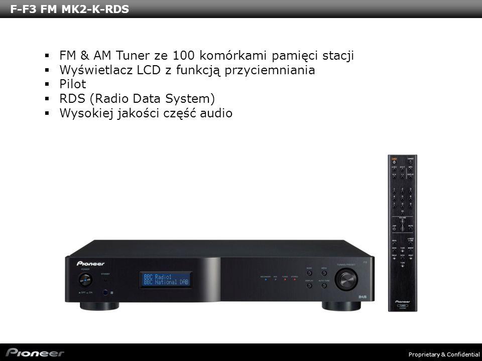 Proprietary & Confidential F-F3 FM MK2-K-RDS FM & AM Tuner ze 100 komórkami pamięci stacji Wyświetlacz LCD z funkcją przyciemniania Pilot RDS (Radio D