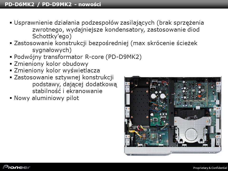 Proprietary & Confidential PD-D6MK2 / PD-D9MK2 - nowości Usprawnienie działania podzespołów zasilających (brak sprzężenia zwrotnego, wydajniejsze kond