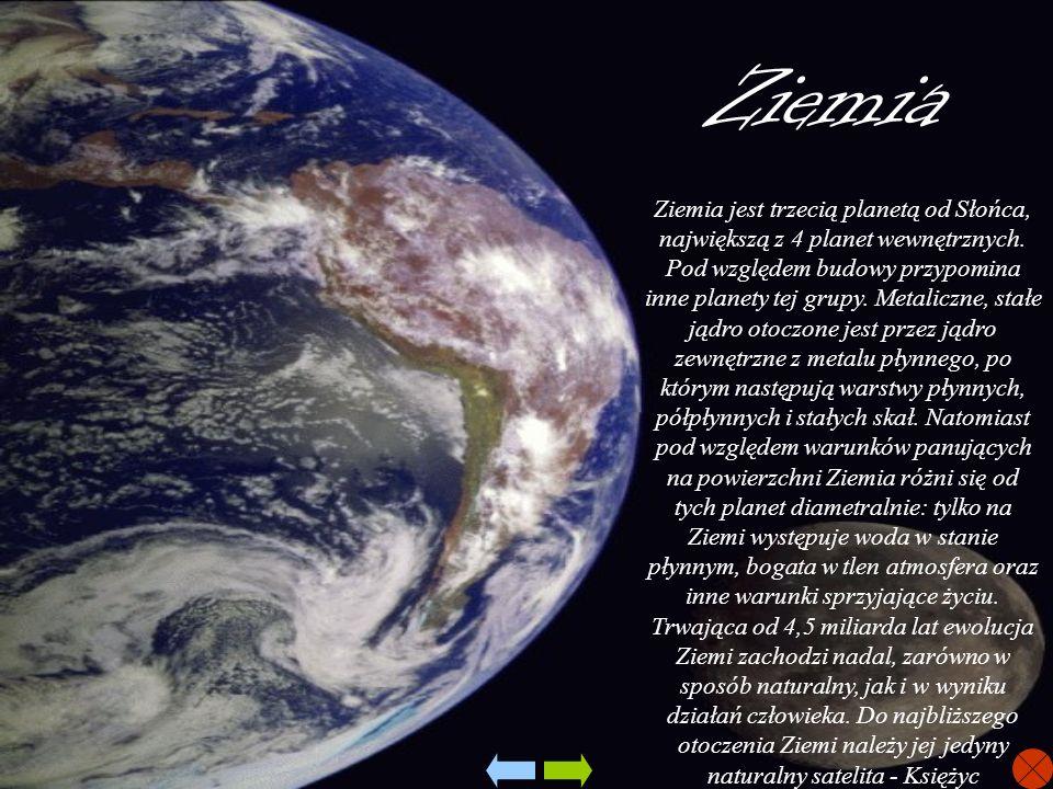 Ziemia Ziemia jest trzecią planetą od Słońca, największą z 4 planet wewnętrznych. Pod względem budowy przypomina inne planety tej grupy. Metaliczne, s
