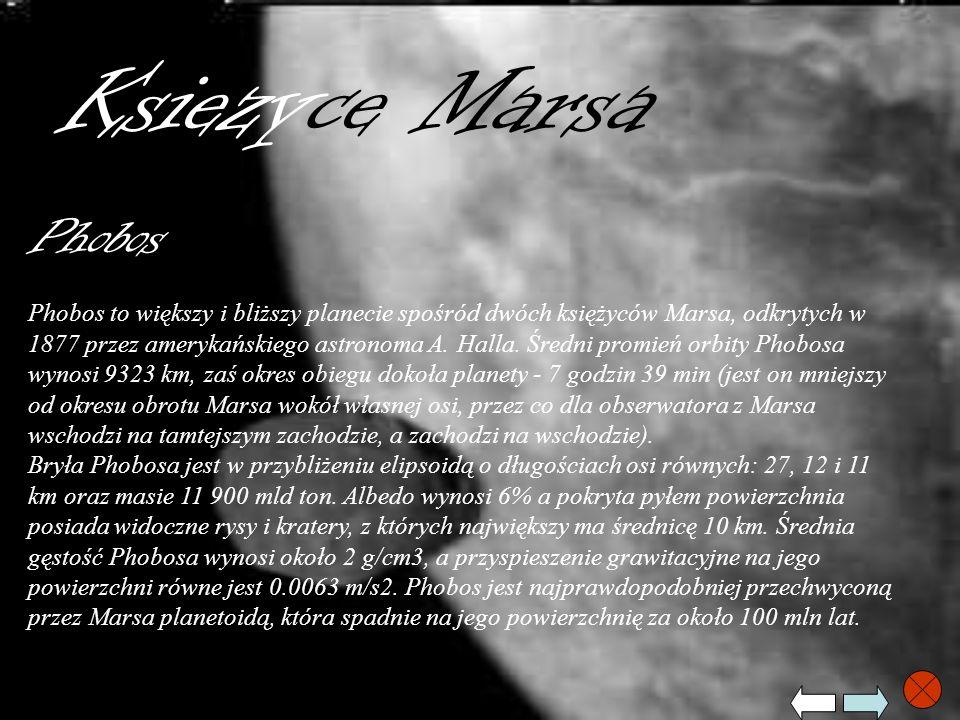 Ksiezyce Marsa Phobos Phobos to większy i bliższy planecie spośród dwóch księżyców Marsa, odkrytych w 1877 przez amerykańskiego astronoma A. Halla. Śr
