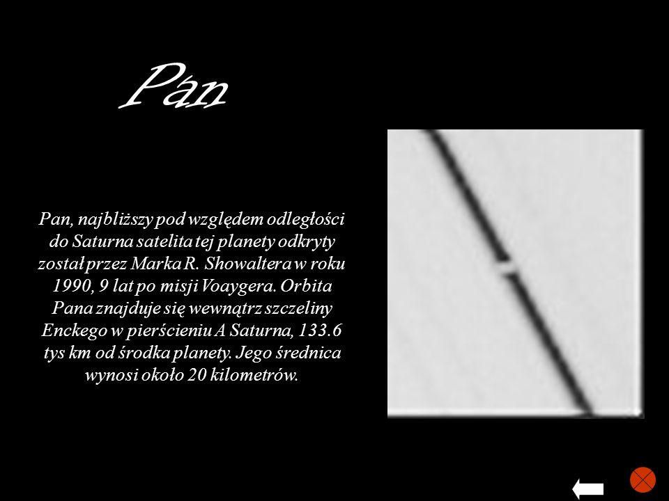 Pan Pan, najbliższy pod względem odległości do Saturna satelita tej planety odkryty został przez Marka R. Showaltera w roku 1990, 9 lat po misji Voayg