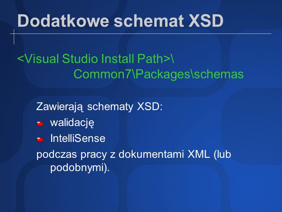 Dodatkowe schemat XSD \ Common7\Packages\schemas Zawierają schematy XSD: walidację IntelliSense podczas pracy z dokumentami XML (lub podobnymi).