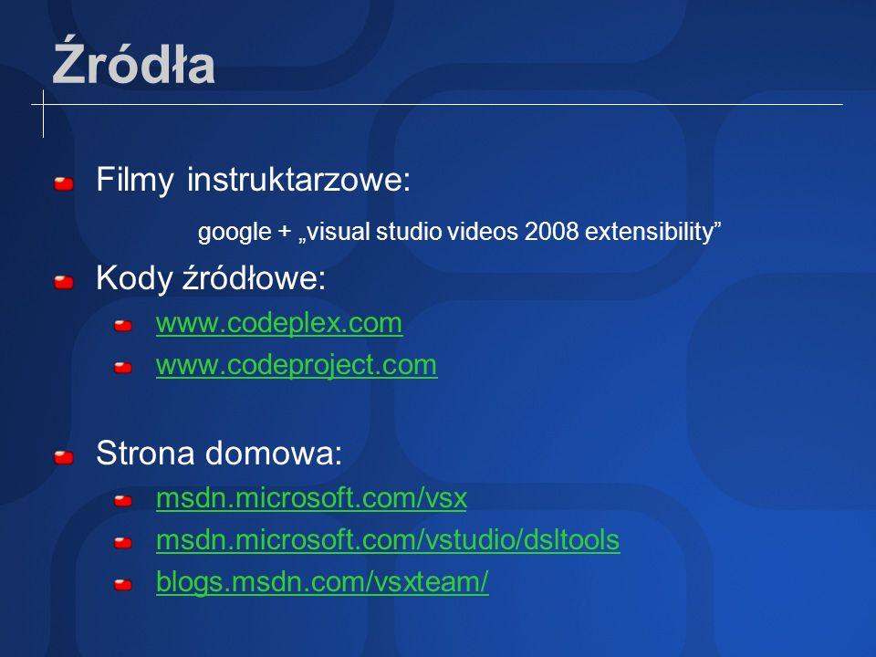 Źródła Filmy instruktarzowe: google + visual studio videos 2008 extensibility Kody źródłowe: www.codeplex.com www.codeproject.com Strona domowa: msdn.