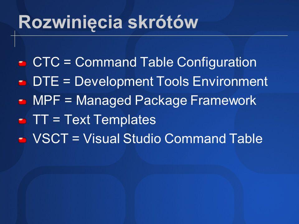 Rozwinięcia skrótów CTC = Command Table Configuration DTE = Development Tools Environment MPF = Managed Package Framework TT = Text Templates VSCT = Visual Studio Command Table