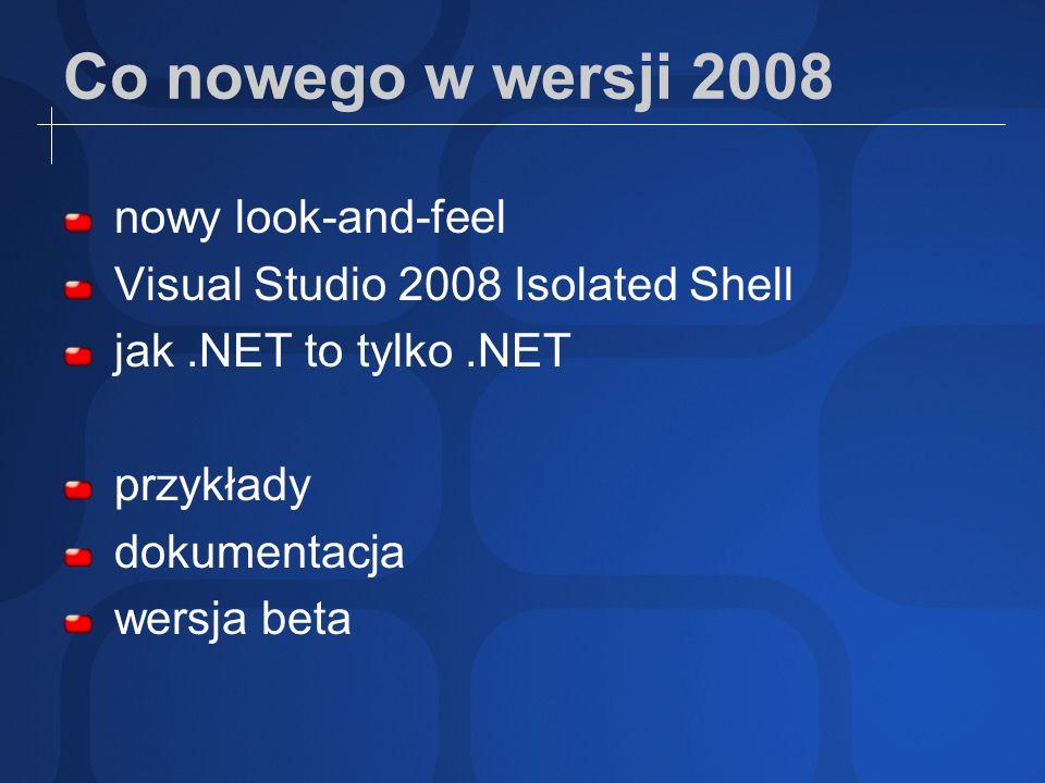 Co nowego w wersji 2008 nowy look-and-feel Visual Studio 2008 Isolated Shell jak.NET to tylko.NET przykłady dokumentacja wersja beta