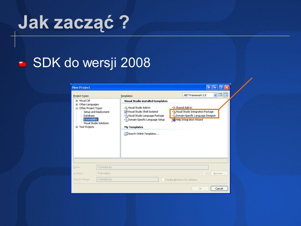 Opcje rozszerzania VisualStudio dostosowanie IDE (Tools Customize) makra dodatki (add-in) pakiety (VS Packages) Wzrost: nakładu pracy możliwości (integracji) SDK