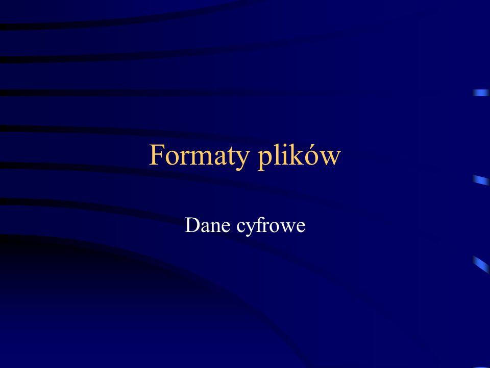 Formaty plików Formaty najważniejsze dla prepress: PostScript, EPS, DCS, PDF, TIFF, JPEG