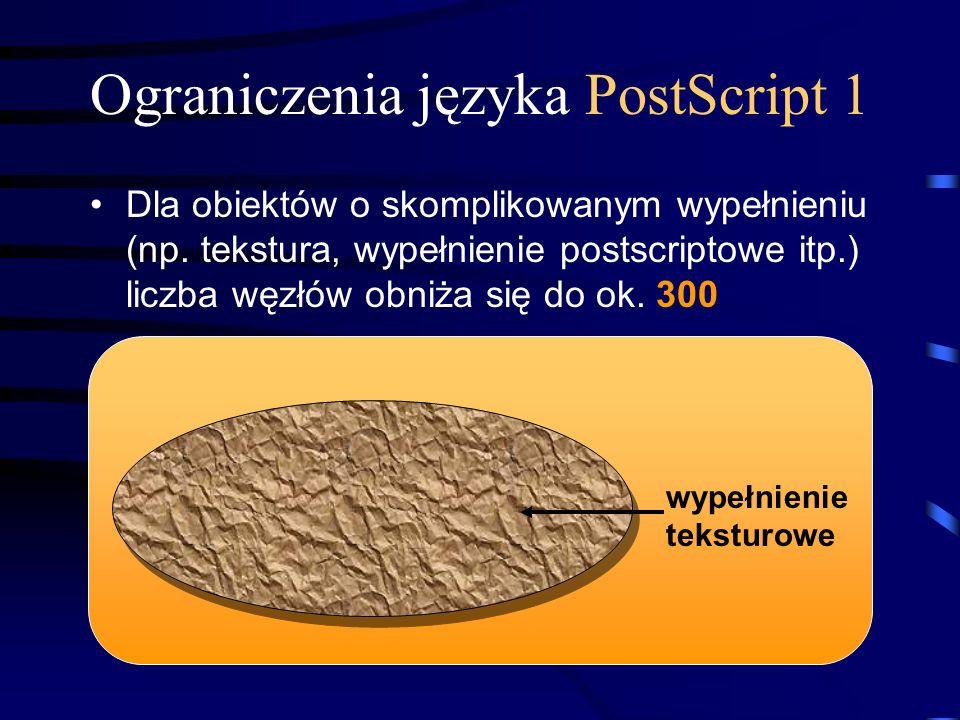 Ograniczenia języka PostScript 1 Dla obiektów o skomplikowanym wypełnieniu (np. tekstura, wypełnienie postscriptowe itp.) liczba węzłów obniża się do
