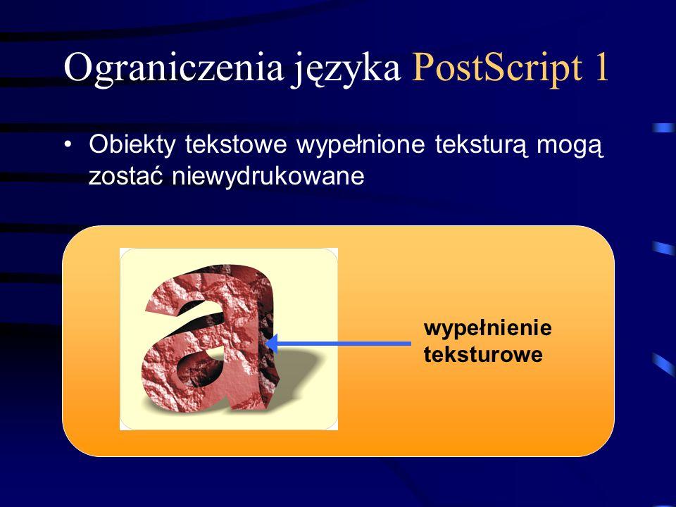 Ograniczenia języka PostScript 1 Obiekty tekstowe wypełnione teksturą mogą zostać niewydrukowane wypełnienie teksturowe