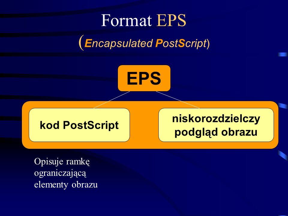 Format EPS ( Encapsulated PostScript) EPS kod PostScript niskorozdzielczy podgląd obrazu Opisuje ramkę ograniczającą elementy obrazu