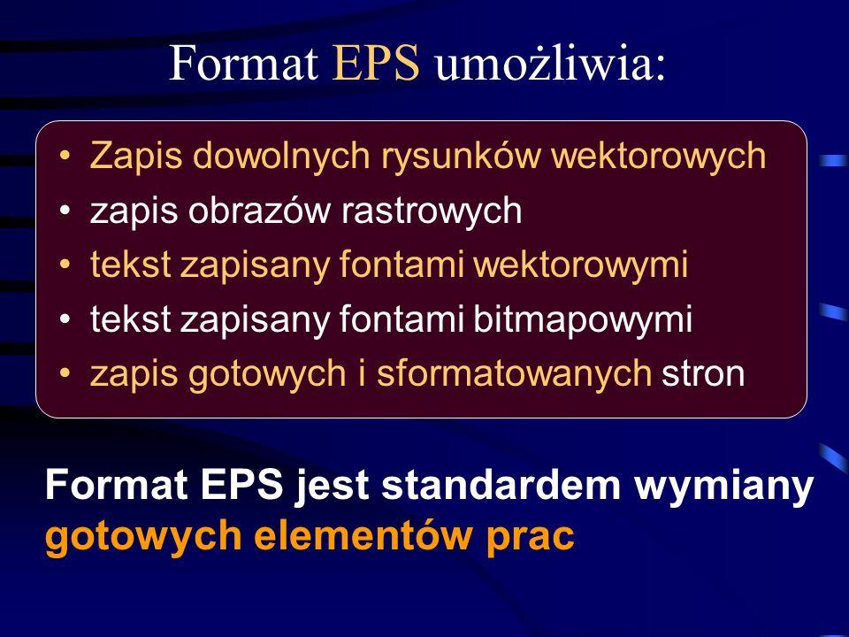 Format EPS umożliwia: Zapis dowolnych rysunków wektorowych zapis obrazów rastrowych tekst zapisany fontami wektorowymi tekst zapisany fontami bitmapow