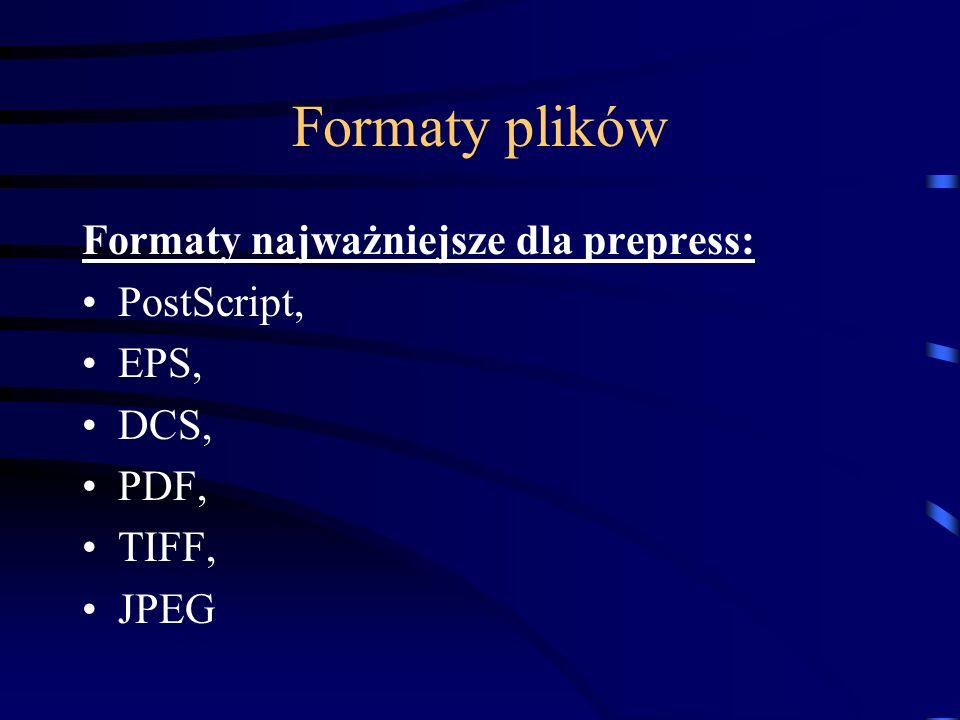 Format PDF (Portable Document Format) Przy użyciu pakietu programowego Adobe Acrobat format PDF może być tworzony z dowolnej aplikacji (wynikowy format powstaje przy wykorzystaniu zainstalowanych w systemie programów Acrobata) Możliwość wydruku plików PostScript (Adobe Distiller) Posiada cechy kompresujące (rodzaj kompresji ustala użytkownik)