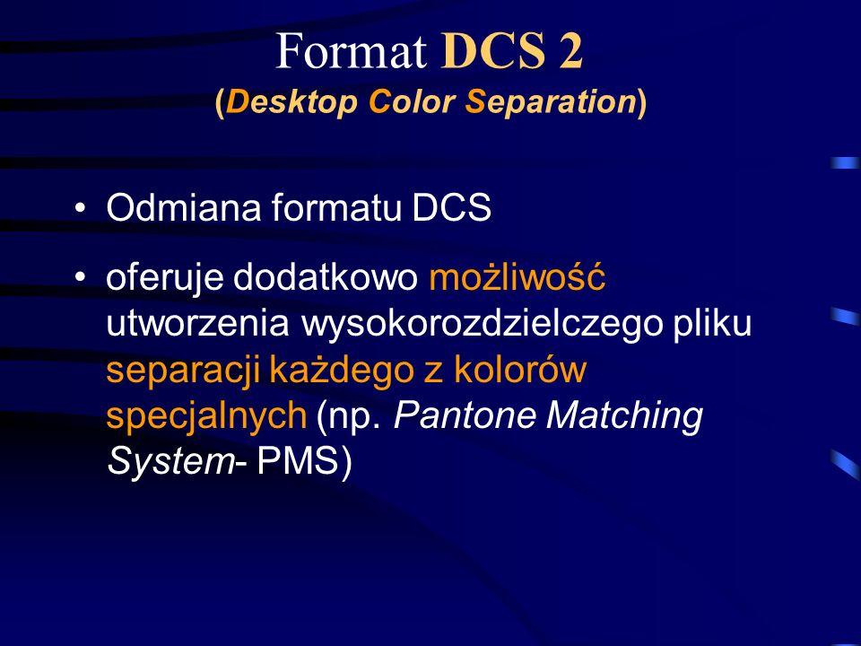 Format DCS 2 (Desktop Color Separation) Odmiana formatu DCS oferuje dodatkowo możliwość utworzenia wysokorozdzielczego pliku separacji każdego z kolor