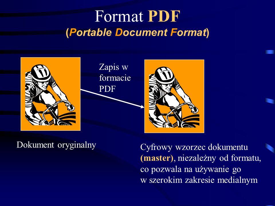 Format PDF (Portable Document Format) Dokument oryginalny Zapis w formacie PDF Cyfrowy wzorzec dokumentu (master), niezależny od formatu, co pozwala n