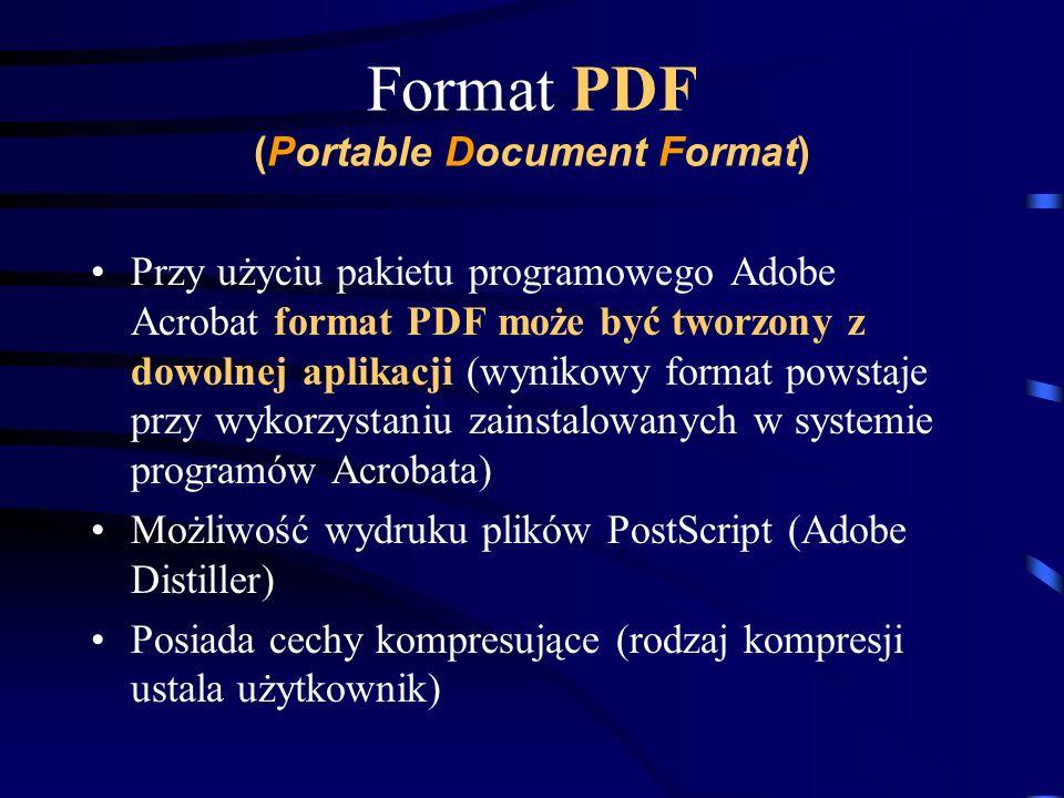 Format PDF (Portable Document Format) Przy użyciu pakietu programowego Adobe Acrobat format PDF może być tworzony z dowolnej aplikacji (wynikowy forma