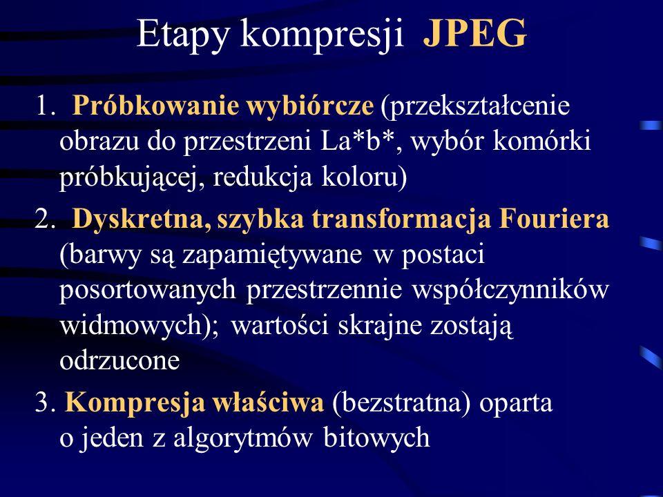 Etapy kompresji JPEG 1. Próbkowanie wybiórcze (przekształcenie obrazu do przestrzeni La*b*, wybór komórki próbkującej, redukcja koloru) 2. Dyskretna,
