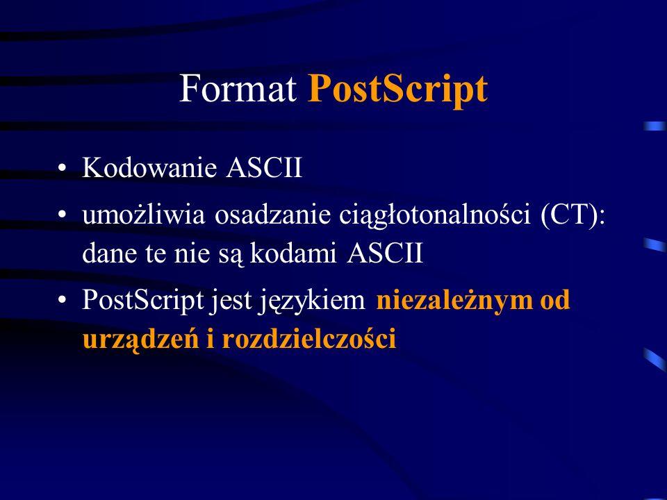 Format PostScript Kodowanie ASCII umożliwia osadzanie ciągłotonalności (CT): dane te nie są kodami ASCII PostScript jest językiem niezależnym od urząd