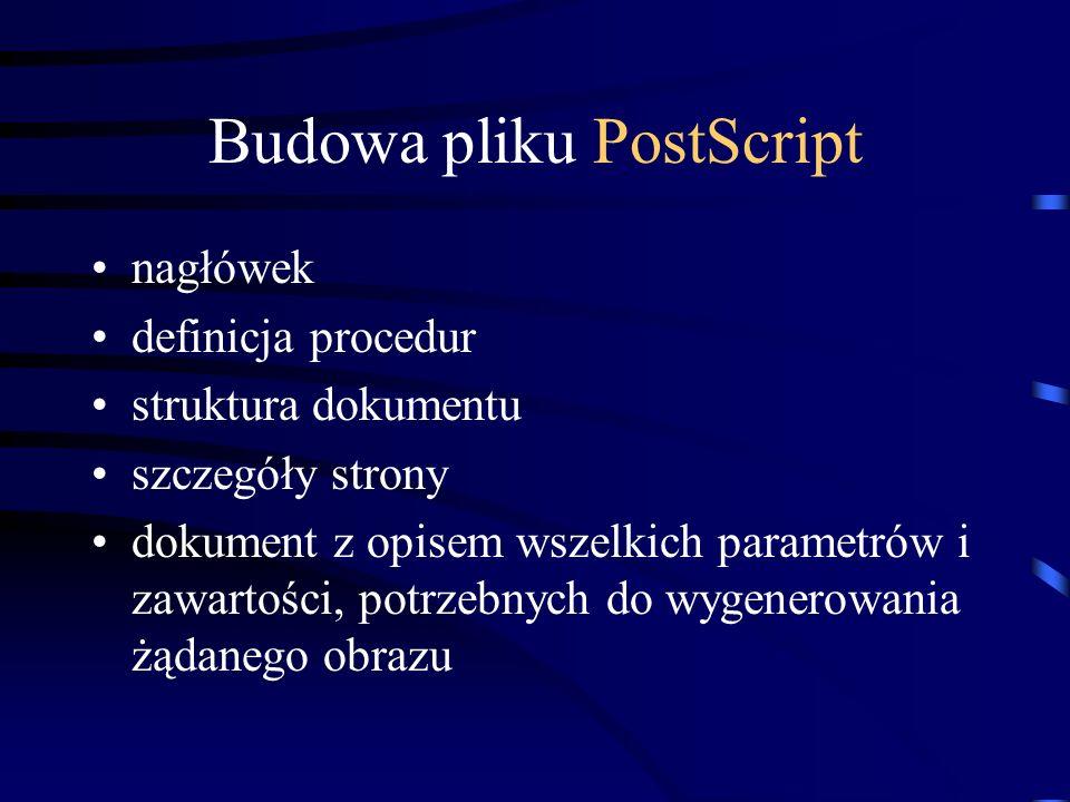 Budowa pliku PostScript nagłówek definicja procedur struktura dokumentu szczegóły strony dokument z opisem wszelkich parametrów i zawartości, potrzebn