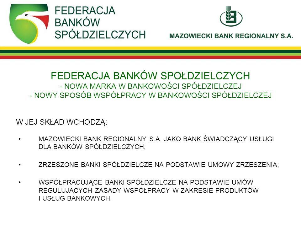 FEDERACJA BANKÓW SPOŁDZIELCZYCH - NOWA MARKA W BANKOWOŚCI SPÓŁDZIELCZEJ - NOWY SPOSÓB WSPÓŁPRACY W BANKOWOŚCI SPÓŁDZIELCZEJ MAZOWIECKI BANK REGIONALNY