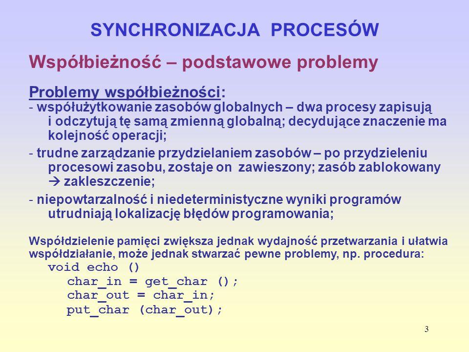 4 SYNCHRONIZACJA PROCESÓW Wymagania od SO wynikające z konieczności zapewnienia współbieżności: - zdolność przechowywania informacji o działaniu licznych procesów; - możliwość przydzielania i odbierania zasobów (czas procesora, pamięć, pliki, urządzenia we/wy) wszystkim procesom; - możliwość ochrony danych i fizycznych zasobów każdego procesu przed niezamierzonym działaniem innych procesów; - wynik działania procesu nie może zależeć od stosunku prędkości, z jaką przebiega, do szybkości działania innych procesów.