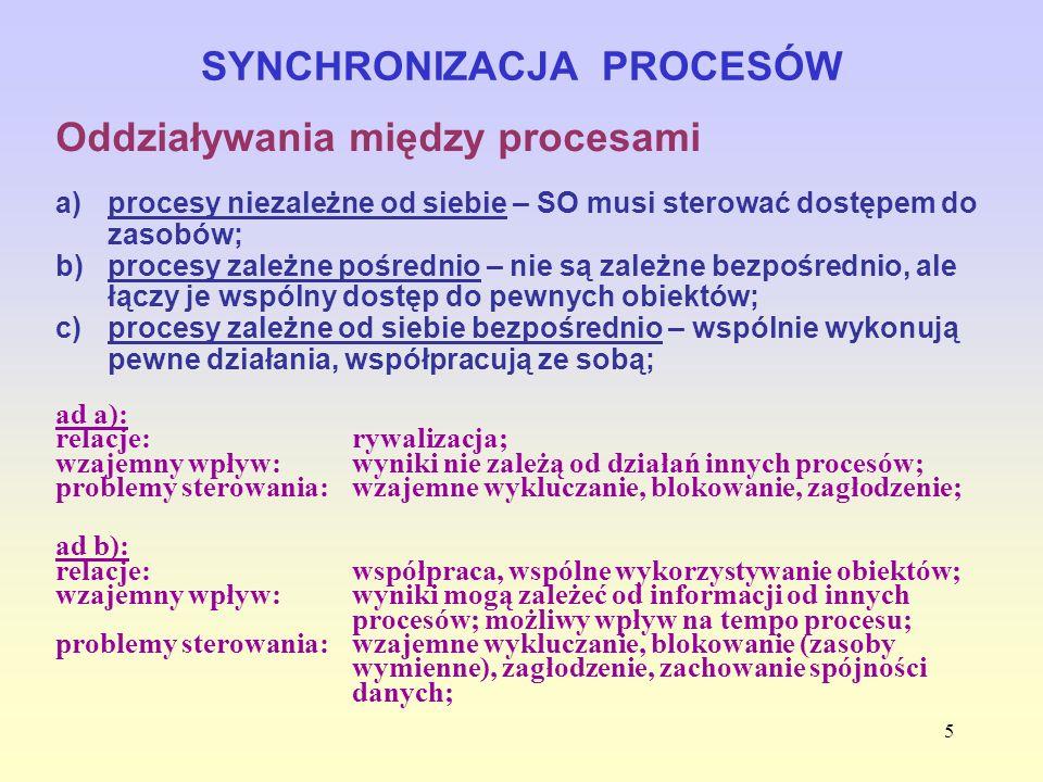6 SYNCHRONIZACJA PROCESÓW Oddziaływania między procesami ad c): relacje: współpraca poprzez komunikację; wzajemny wpływ:wyniki mogą zależeć od informacji od innych procesów; możliwy wpływ na tempo procesu; problemy sterowania:blokowanie (zasoby wymienne), zagłodzenia.