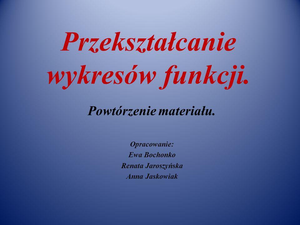 Przekształcanie wykresów funkcji. Powtórzenie materiału. Opracowanie: Ewa Bochonko Renata Jaroszyńska Anna Jaskowiak