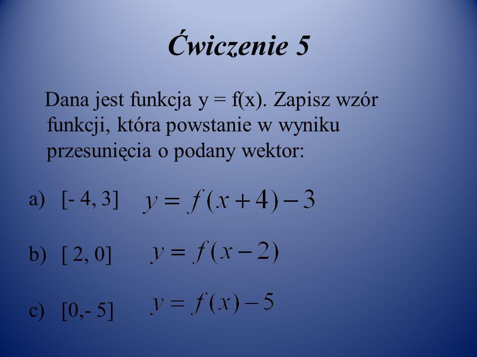 Ćwiczenie 5 Dana jest funkcja y = f(x). Zapisz wzór funkcji, która powstanie w wyniku przesunięcia o podany wektor: a) [- 4, 3] b) [ 2, 0] c) [0,- 5]