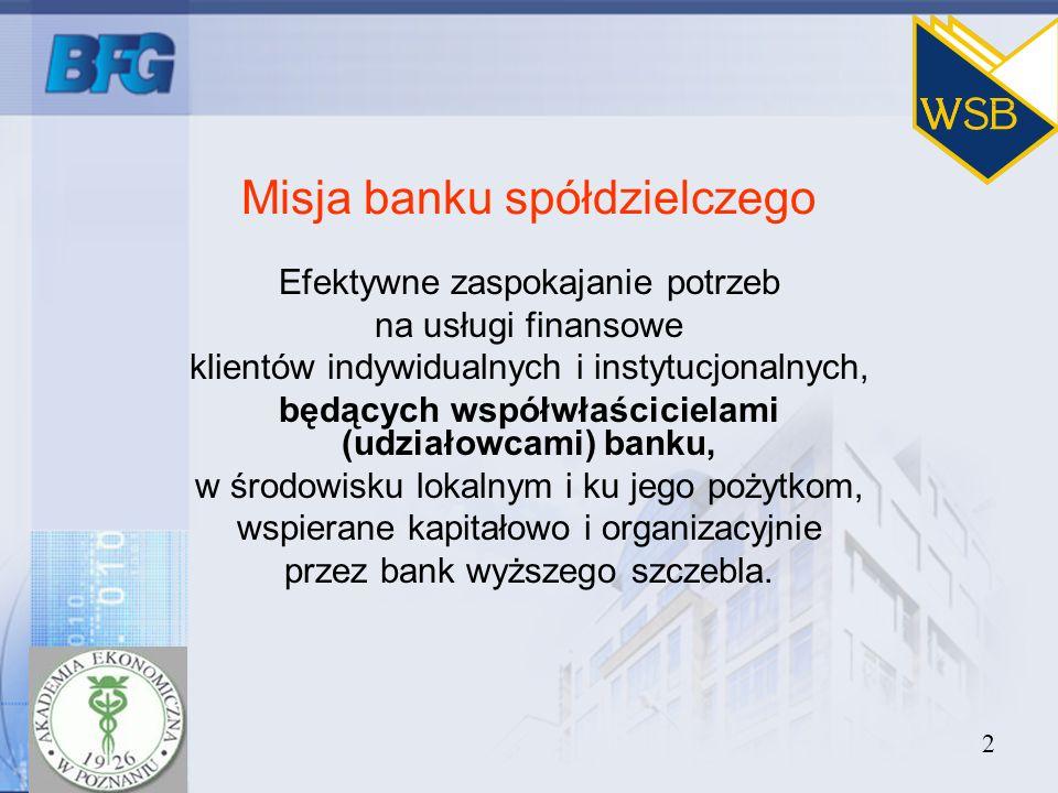 2 Misja banku spółdzielczego Efektywne zaspokajanie potrzeb na usługi finansowe klientów indywidualnych i instytucjonalnych, będących współwłaściciela