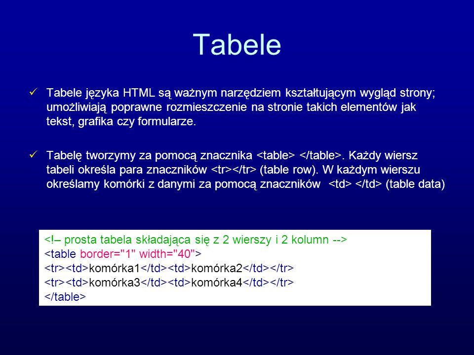 Tabele Tabele języka HTML są ważnym narzędziem kształtującym wygląd strony; umożliwiają poprawne rozmieszczenie na stronie takich elementów jak tekst,