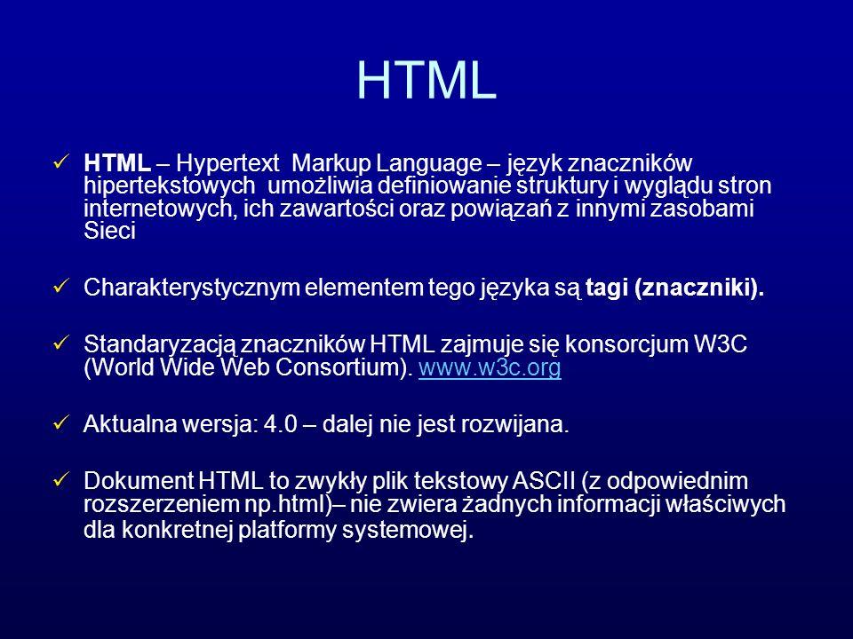 HTML HTML – Hypertext Markup Language – język znaczników hipertekstowych umożliwia definiowanie struktury i wyglądu stron internetowych, ich zawartośc