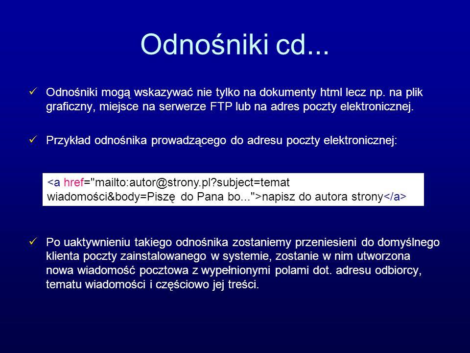 Odnośniki cd... Odnośniki mogą wskazywać nie tylko na dokumenty html lecz np. na plik graficzny, miejsce na serwerze FTP lub na adres poczty elektroni
