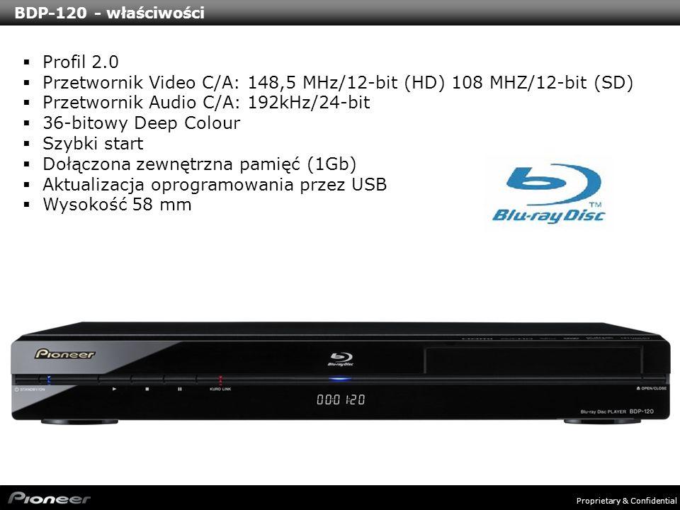 Proprietary & Confidential BDP-120 - właściwości Profil 2.0 Przetwornik Video C/A: 148,5 MHz/12-bit (HD) 108 MHZ/12-bit (SD) Przetwornik Audio C/A: 19