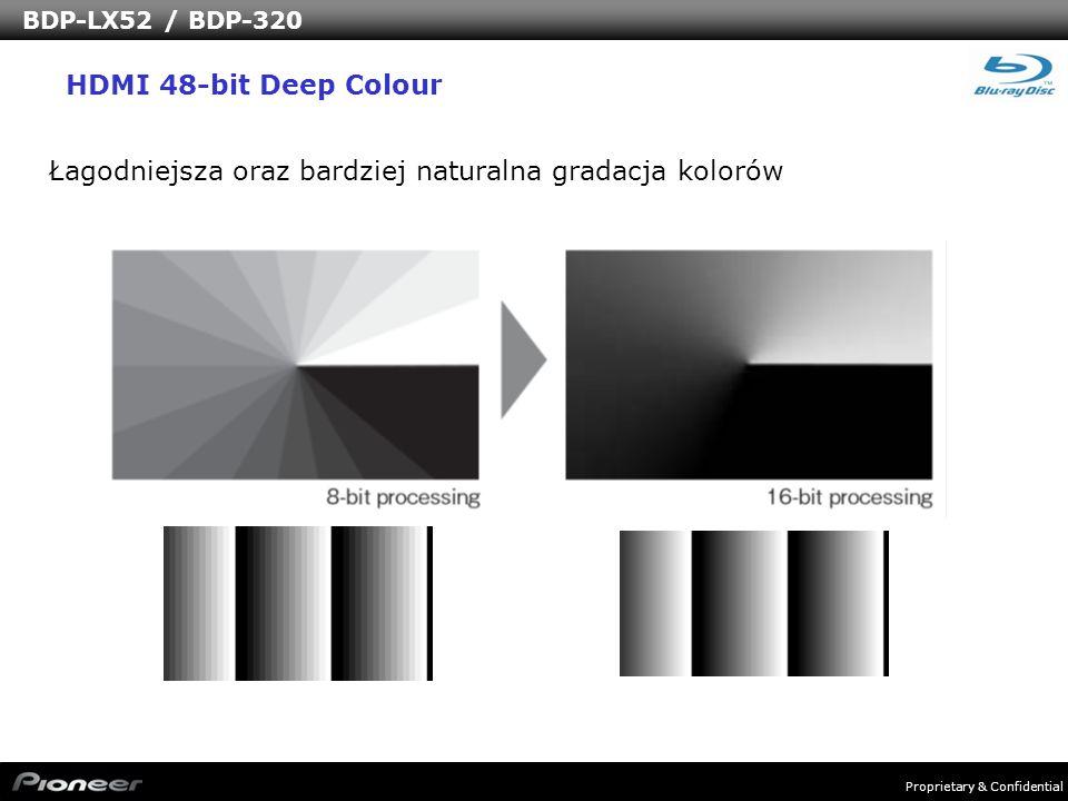 Proprietary & Confidential BDP-LX52 / BDP-320 Łagodniejsza oraz bardziej naturalna gradacja kolorów HDMI 48-bit Deep Colour