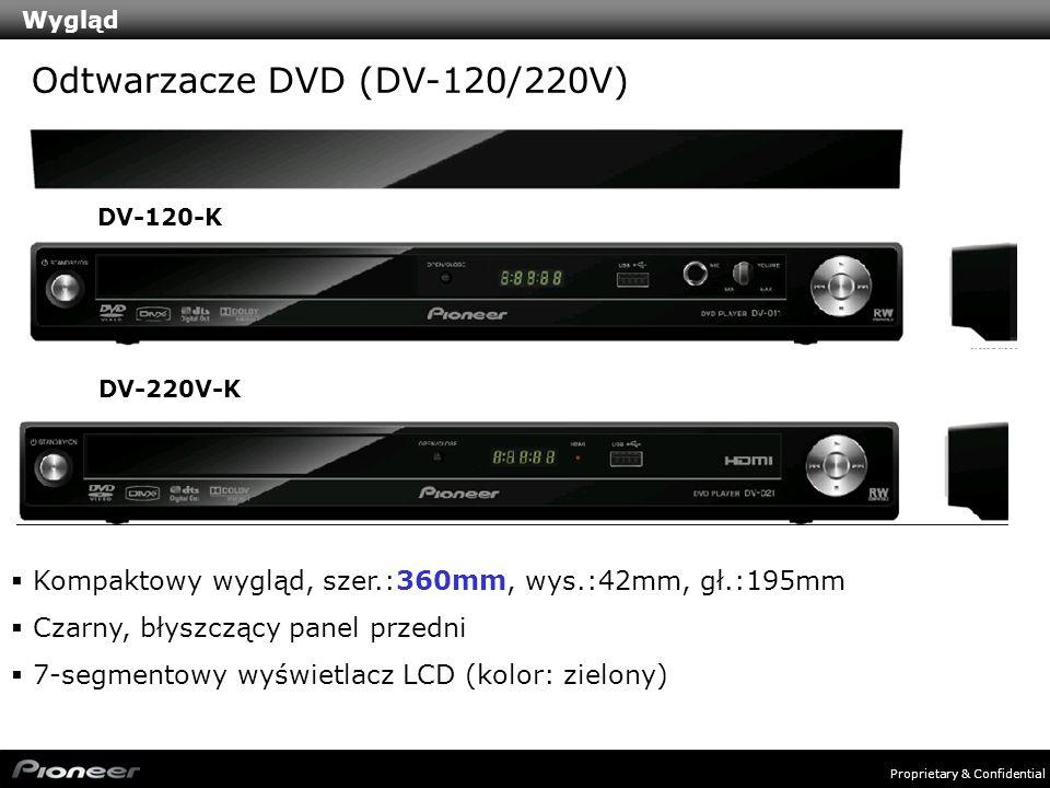 Proprietary & Confidential Wygląd Kompaktowy wygląd, szer.:360mm, wys.:42mm, gł.:195mm Czarny, błyszczący panel przedni 7-segmentowy wyświetlacz LCD (